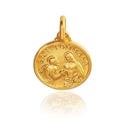 Święty Tomasz. Malutki złoty medalik, średnica 10 mm 1,1 g Medalik św Tomasza. Gold Urbanowicz
