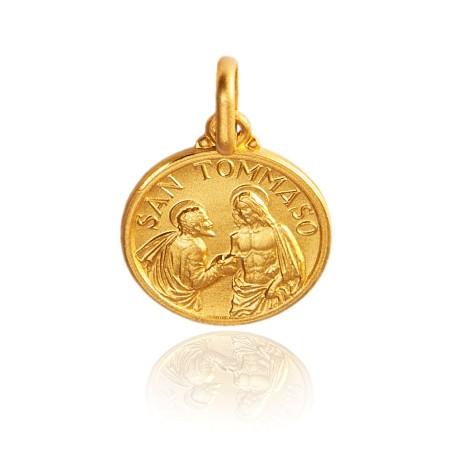 Święty Tomasz. Malutki złoty medalik, 10 mm 1,1 g