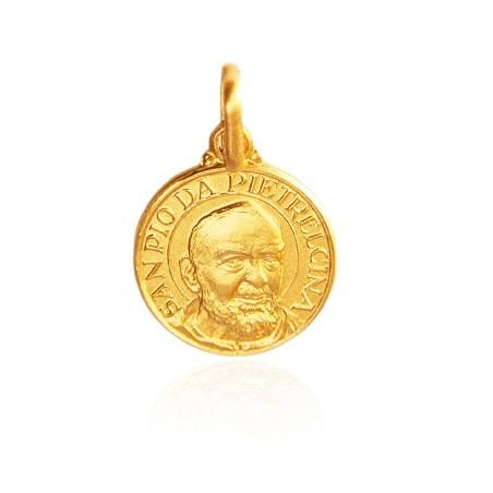 Święty Ojciec Pio, 18 mm, 3,7 g Medalik złoty.