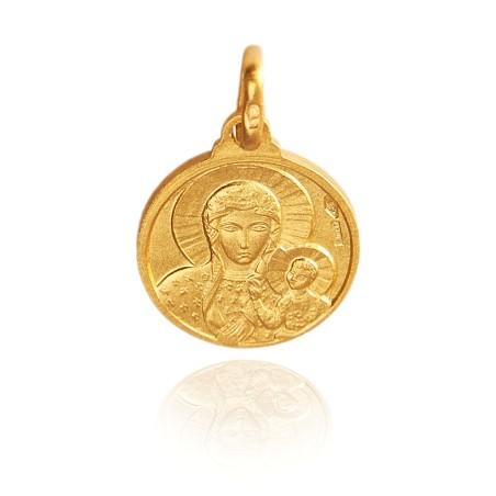 Matka Boska Częstochowska. Złoty medalik. 16 mm, 3 g