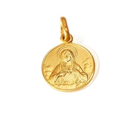 Najświętsze Serce Maryi. Złoty medalik, 10 mm, 1,0 g