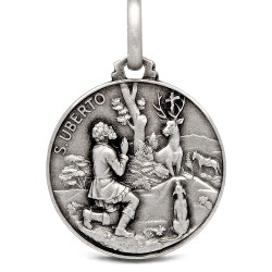 Okrągły Medalik Srebrny Świętego Huberta. 25mm