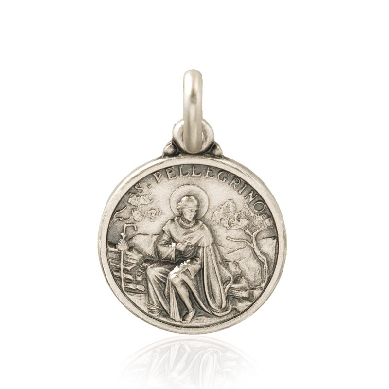 Święty Peregryn. Patron chorych na raka. Medalik srebrny średnica 25 mm, 6,1g Gold Urbanowicz shop online