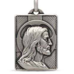 Gold Urbanowicz, Duży Prostokątny Medalik z Jezusem, srebro 925