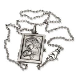 Komplet srebrny. Medalik MB Bożej z Dzieciątkiem + łańcuszek 50 cm