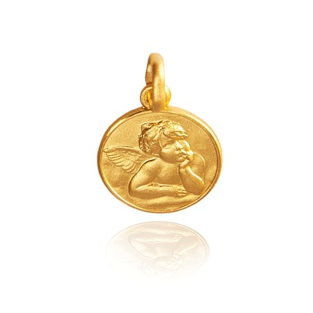 Złoty medalik z Aniołkiem z obrazu Madonna Sykstyńska, 21 mm, 5,35g