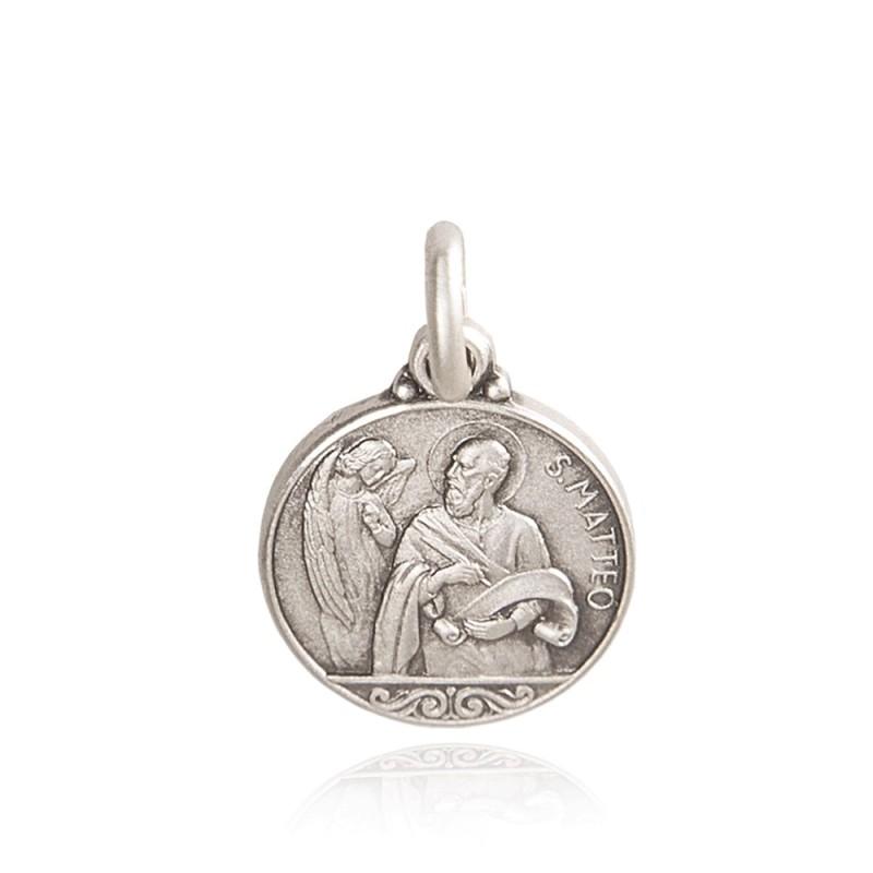 Medalik świetego Mateusza, Patrona urzędników, celników. srebrny medalion. średnica 21 mm, 3,1 g GoldUrbanowicz