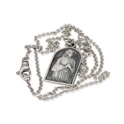 Medalik dwustronny św Faustyny Kowalskiej i Jezusa Miłosiernego z łańcuszkiem rodowanym 50 cm.