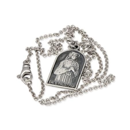 Komplet srebrny. Medalik Św Faustyny Kowalskiej + łańcuszek 50 cm