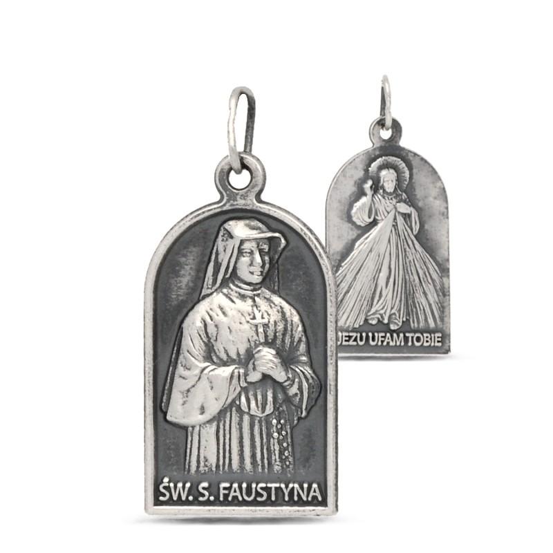 Medalik na bierzmowanie: Św Faustyna Kowalska i Jezus Miłosierny