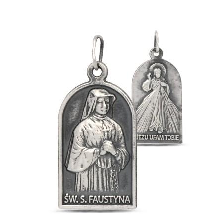 Medalik Św Faustyny Kowalskiej i Jezusa Miłosiernego 3,4g