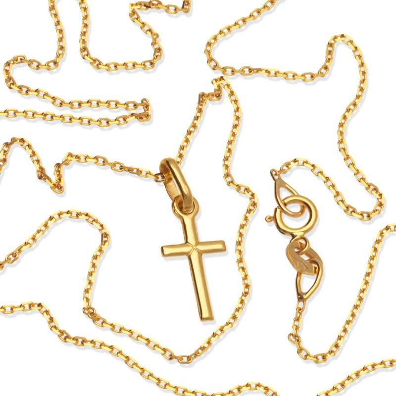 Złoty komplet. Łańcuszek 42 cm + krzyżyk- Gold Urbanowicz