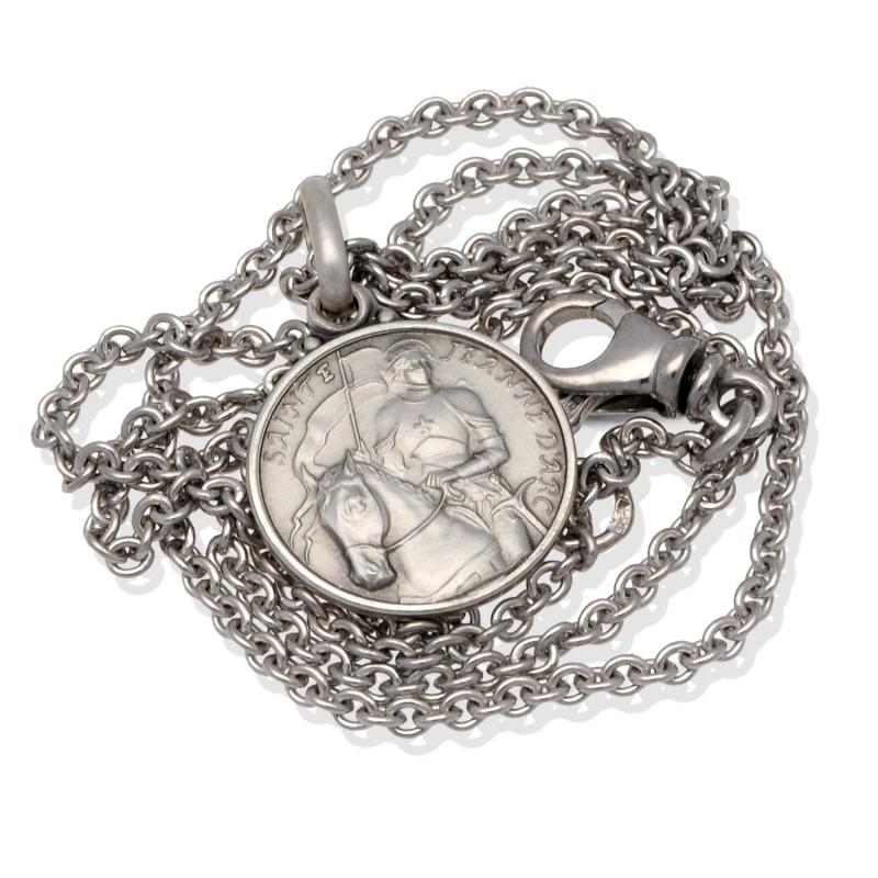 komplet srebrny: medalik św Joanny d'Arc 14mm z łańcuszkiem rodowanym.