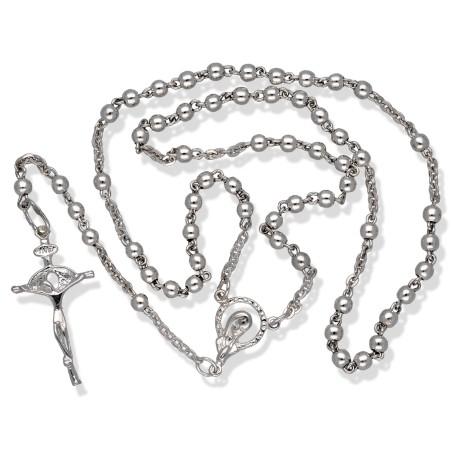 Różaniec srebrny z błyszczącymi paciorkami. ok 7,6 g