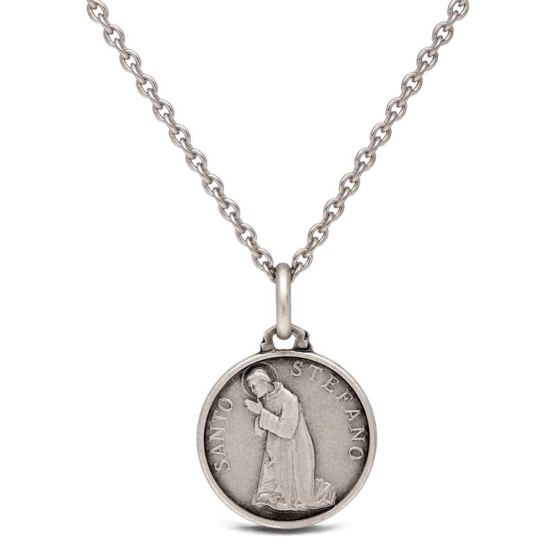 komplet srebrny: medalik św Stefana 16mm z łańcuszkiem rodowanym.