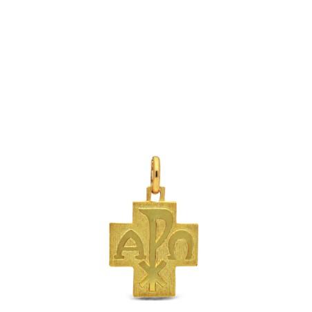 Złoty krzyżyk Alfa Omega, błyszczący, 2,7 g