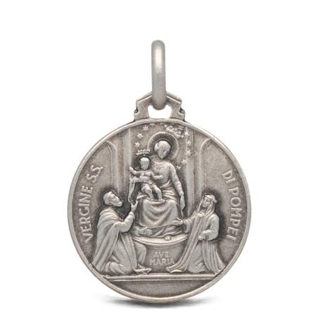 Matka Boża Pompejańska-medalion srebrny- 18mm, 2,95 g