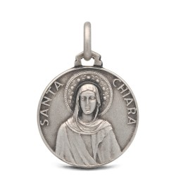 Gold Urbanowicz- shop online- Medalik srebrny Św Klary 18mm