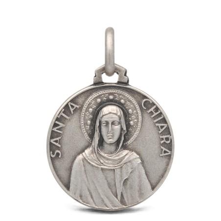 Święta Klara- medalik ze srebra 18mm, 3,15g