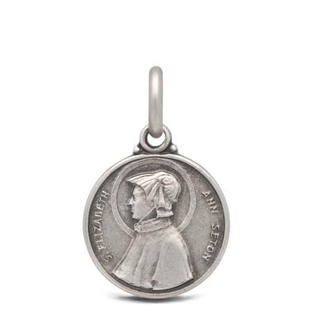 Medalik ze srebra św Elżbiety Seton. 14mm, 1,75 g