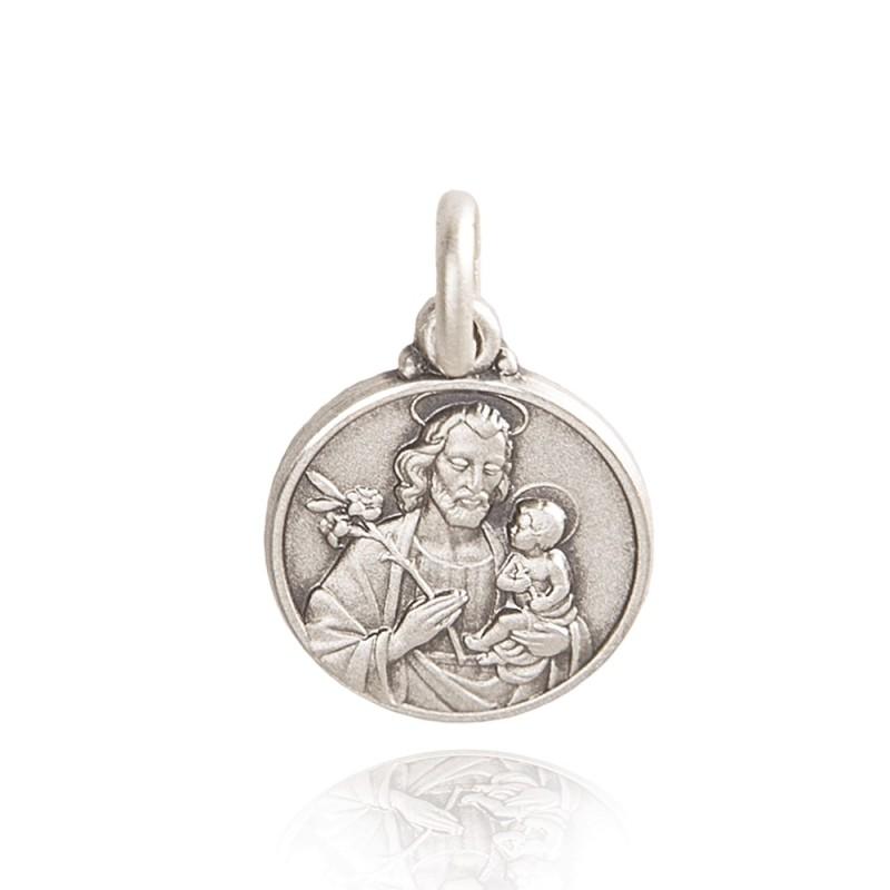 Medalik ze srebra oksydowany ze św Józefem. 0,9g, 10mm, Gold Urbanowicz