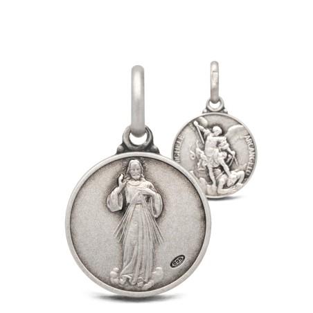 Michał Archanioł i Jezus Miłosierny -medalik dwustronny 14mm 2,3g