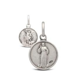 Michał Archanioł i Jezus Miłosierny -medalik dwustronny 12mm 1,5g