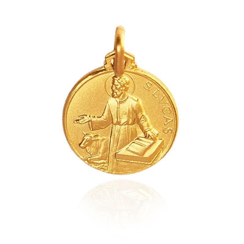 Święty Łukasz Ewangelista. Patron lekarzy, złotników, grafików. Złoty medalik, średnica 18 mm, 3.7 g Gold Urbanowicz