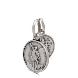 Szkaplerz Michała Archanioła i MB z Góry Karmel, srebrny medalik dwustronny 16 mm,