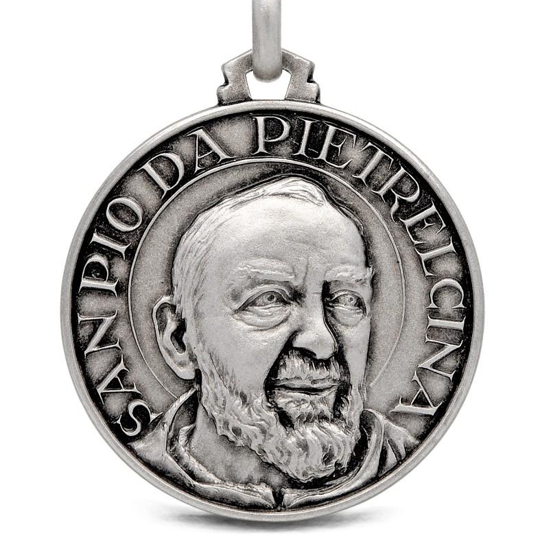 Święty Ojciec Pio. 30mm Medalion srebrny. Gold Urbanowicz