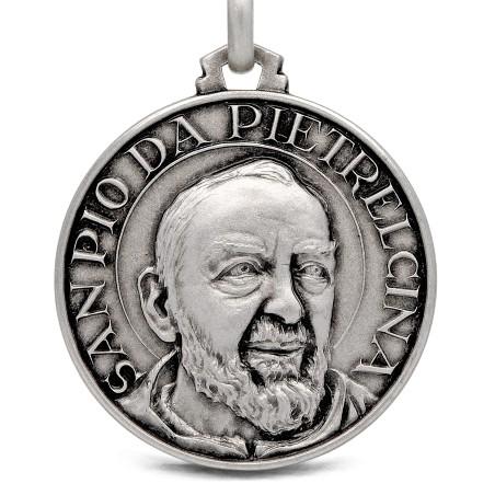 Święty Ojciec Pio. medalik srebrny, 30 mm 10,6 g