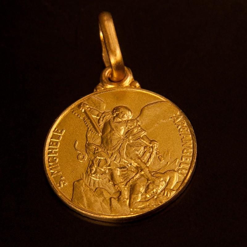 Złoty medalik dwustronny: Szkaplerz Michała Archanioła- Gold Urbanowicz 12mm,
