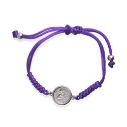 Bransoletka z medalikiem Angels- fioletowy sznureczek