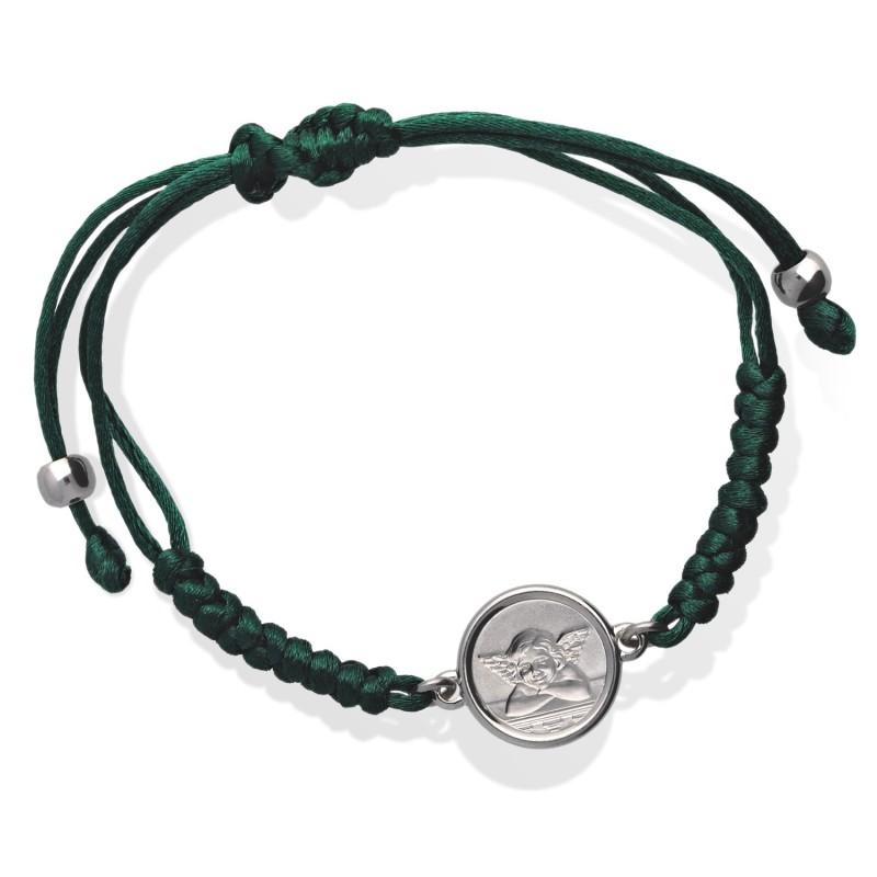 Bransoletka z medalikiem Angels- zielony sznureczek