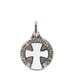 """Srebrny Medalik z napisem """"pod tym znakiem zwyciężysz"""" 21 mm. 4,6g"""