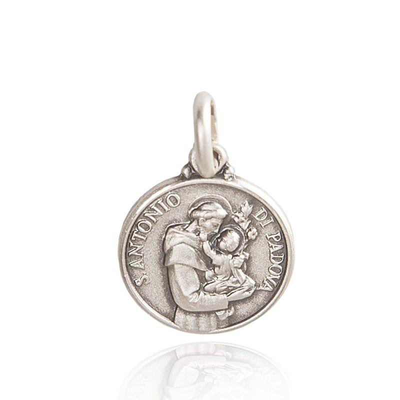 Święty Antoni. Medalik wykonany ze srebra oksydowanego. Gold Urbanowicz 25mm