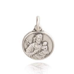 Święty Józef. Patron Rzemieślników. Duży Medalion ze srebra. 30 mm, Gold Urbanowicz