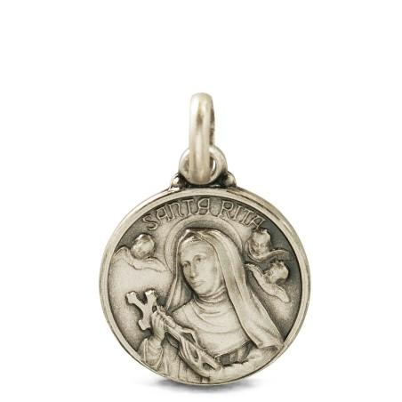 Srebrny Medalik św Rity, 12 mm. 1,45 g