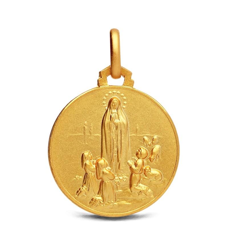 Matka Boska Fatimska. Złoty medalik  21mm  Gold Urbanowicz
