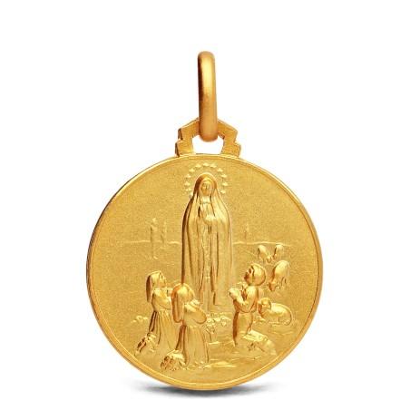 Złoty medalik Fatimski.  Matka Boża Fatimska. 21 mm, 4,9 g