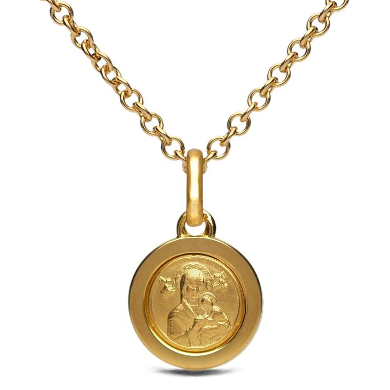 Złoty komplet. Złoty łańcuszek 50 cm + medalik 14mm. Gold Urbanowicz