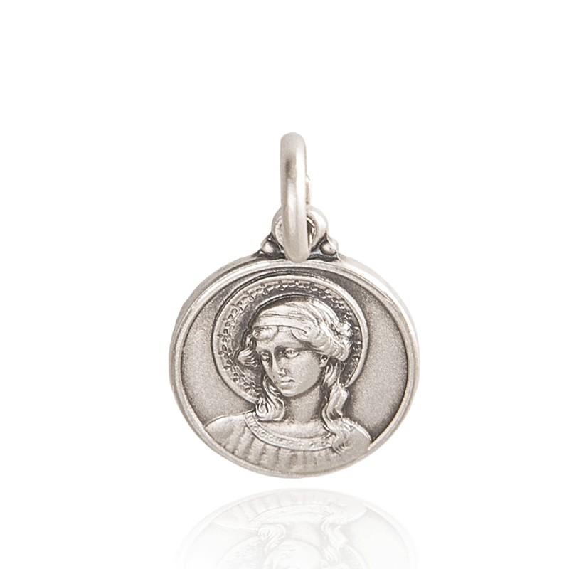 Archanioł Gabriel. srebrny medalik. średnica 21 mm. Gold Urbanowicz