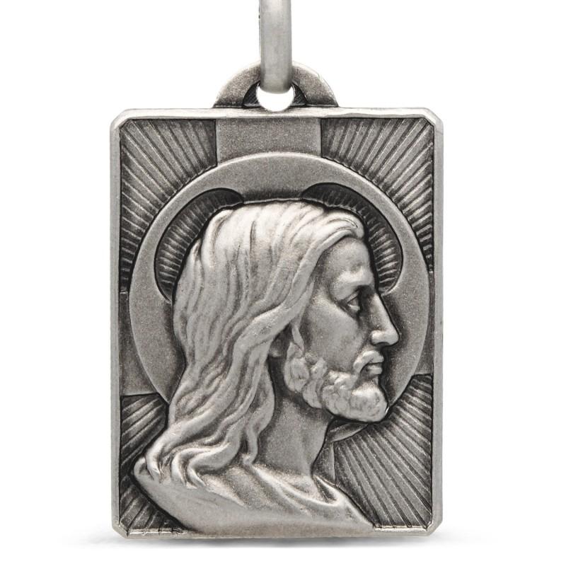 Gold Urbanowicz, Duży Prostokątny Medalion z Jezusem, srebro 925