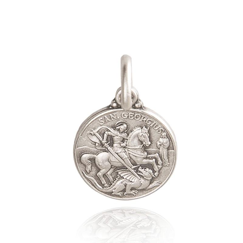 Duży, masywny Srebrny medalion Świętego Jerzego. 30 mm 11g Gold Urbanowicz