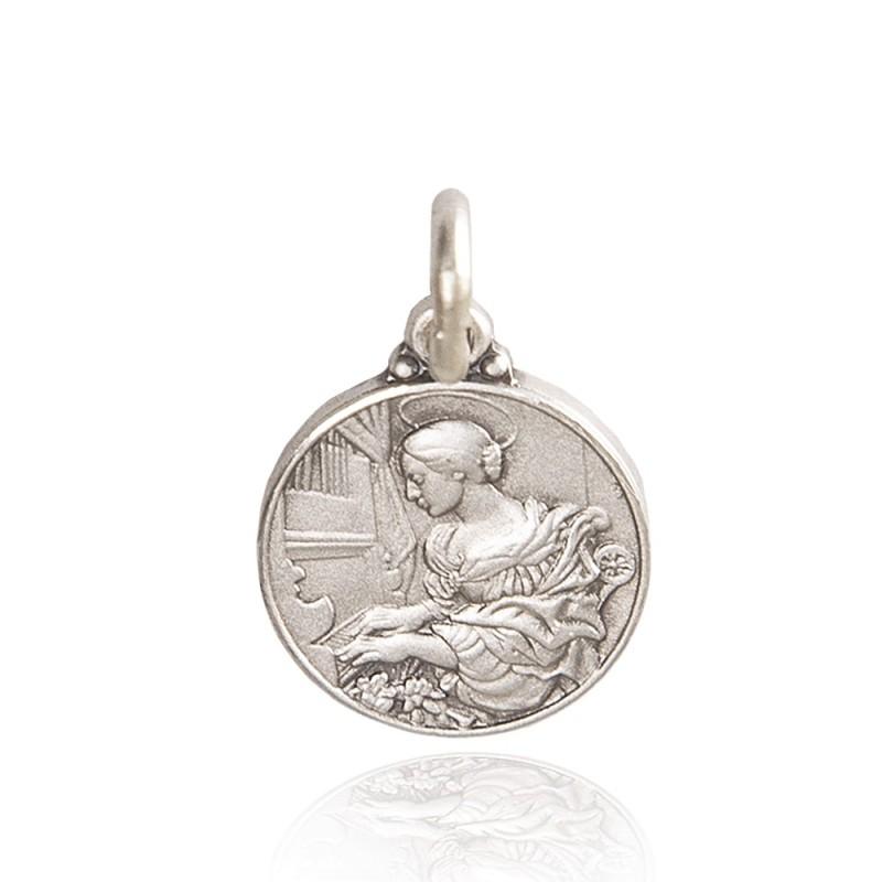 Święta Cecylia. patronka muzyki kościelnej. Medalion srebrny. 25 mm. 7,65 g Gold Urbanowicz