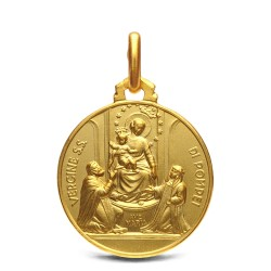 Złoty medalik- Matka Boża Pompejańska, 18mm, 3,5 g