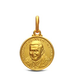 Złoty medalik emerytowanego Papieża Benedykta XVI. 14 mm, 2,2 g - Gold Urbanowicz