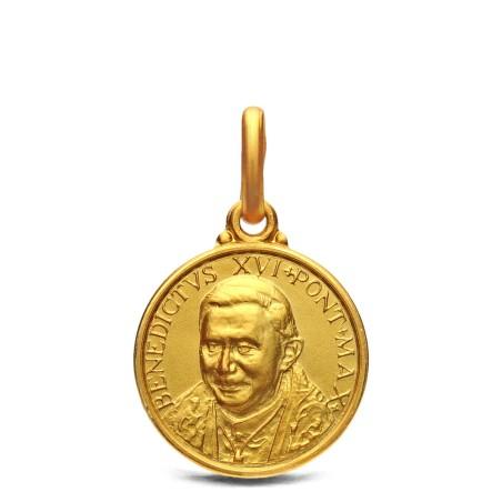 Złoty medalik emerytowanego Papieża Benedykta XVI. 14 mm, 2,2 g