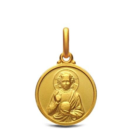 Złoty medalik Małego Jezusa. 14 mm, 2,2 g