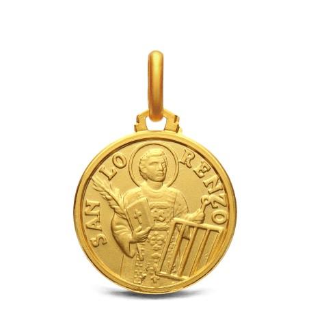 Złoty medalik Św Wawrzyniec, 16 mm, 3 g